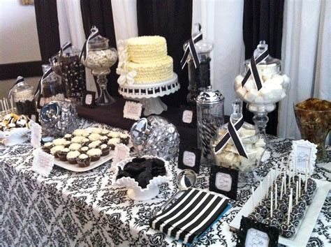 black and white candy table dessert table black and white damask bridal shower