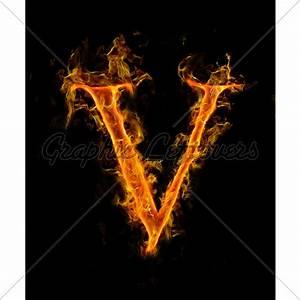 Fire Letter V · GL Stock Images