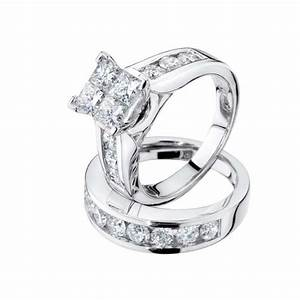 princess cut diamond engagement ring and wedding band set With 1 carat wedding ring set