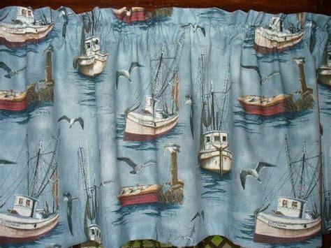 Nautical Ships Row Fishing Boats Ocean Water Sea Fabric