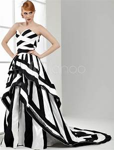 ball gown black and white wedding dress satin sweetheart With black and white striped wedding dress