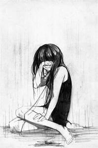 drawing girl Black and White sad manga crying beatricesgrave •