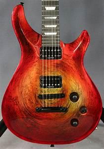 Quicksilver Guitar Red Swirl Marbleized Finish