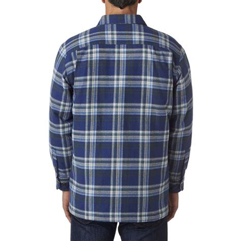 flannel shirt jacket with quilted lining backpacker s blue green flannel shirt jacket with