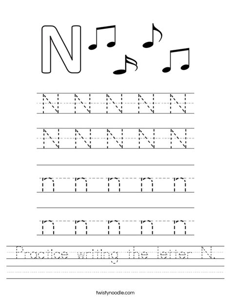 Practice Writing The Letter N Worksheet  Twisty Noodle