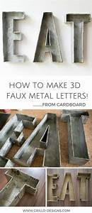 3d faux metal letters tutorial from cardboard With how to make metal letters