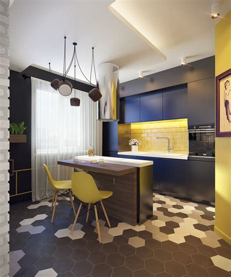black white and yellow kitchen 4 cute and stylish spaces under 50 square meters