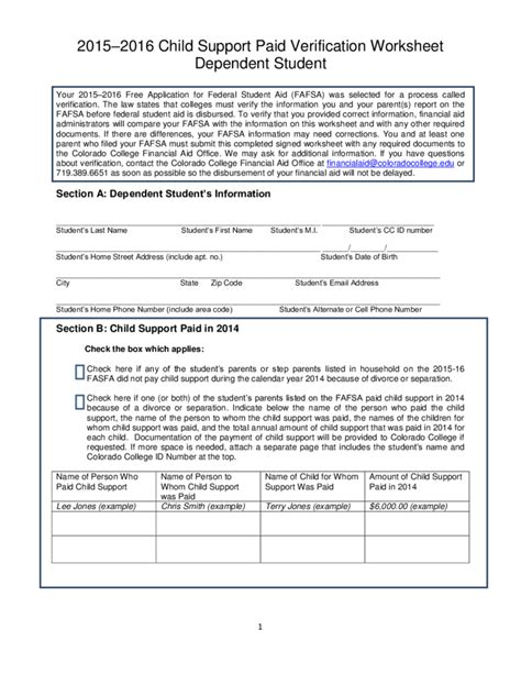 child support paid verification worksheet colorado free