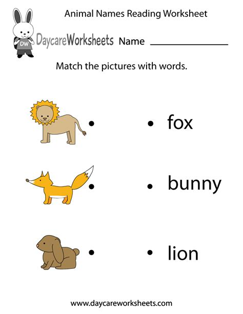free animal words reading worksheet for preschool
