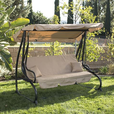 person outdoor swing wcanopy seat patio hammock