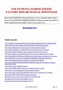 Volvo Penta Marine Engine Factory Repair Manual By Hong
