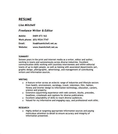 Exle Of Writer S Resume by Sle Resume Template In Psd Pdf Word