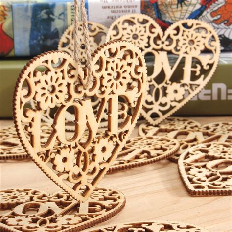 pcs heart love diy wood craft hanging decoration craft