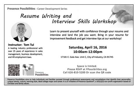 resume writing skills workshop presence