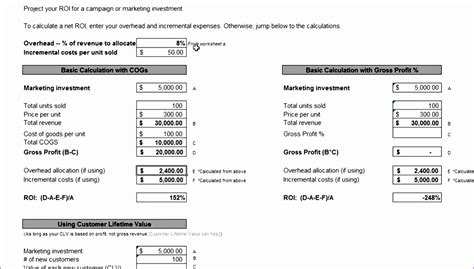 roi calculator excel template exceltemplates