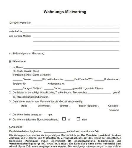 mietvertrag muster  freewarede