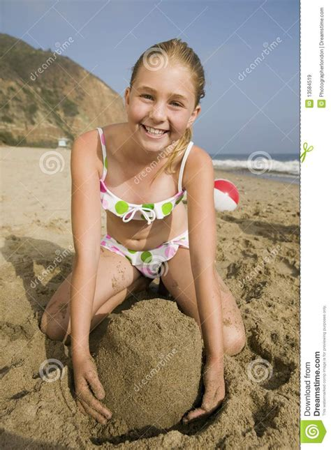 girl playing  beach royalty  stock images image