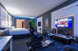 Alienware created a stunning Hilton hotel room for gamers