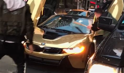 %name Austin Cars And Coffee   Coby Persins Gold BMW i8 Smashed With Bat by Angry Guy