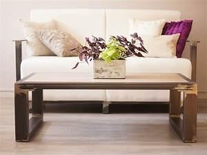 Canapé Style Industriel : table basse en fer bois style design industriel fabrication fran aise villa m lodie ~ Teatrodelosmanantiales.com Idées de Décoration