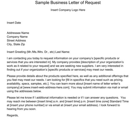 sample request letters sample letters word
