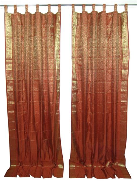 2 india curtains rust gold brocade silk from