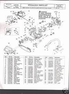 Mac Cat 335  435  440   Mcculloch Chain Saw Parts List