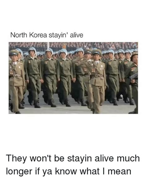 If Ya Know What I Mean Meme - north korea stayin alive 13 they won t be stayin alive much longer if ya know what i mean