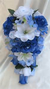 blue wedding flowers wedding cascade bouquet bridal silk flowers royal blue white 17pc package ebay