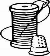 Needle Sewing Drawing Thread Spool Clipart Template Coloring Sketch Thimble sketch template