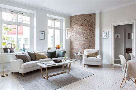 bright interior design apartment    brick wall