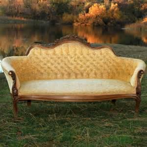 Vintage Gold Velvet Couch