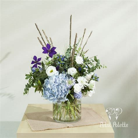 Cool Flower Vases by Cool Tone Flower Vase Arrangement With Branches Seoul
