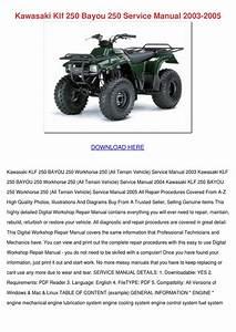 Kawasaki Klf 250 Bayou 250 Service Manual 200 By Raven