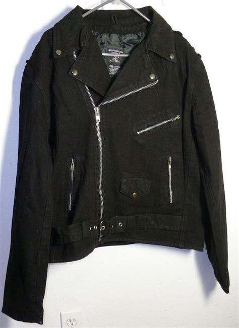 black motorbike jacket black denim cotton basic classic motorcycle biker jacket