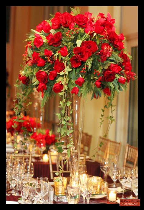ideas  red rose centerpieces  pinterest red