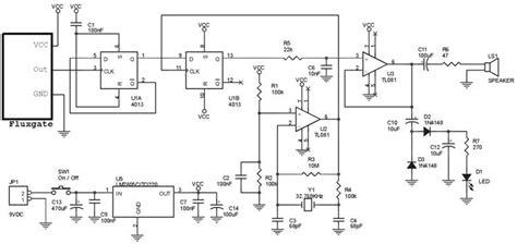 rangkaian lengkap detektor medan magnet dengan fluxgate magnetometer fgm zona elektro