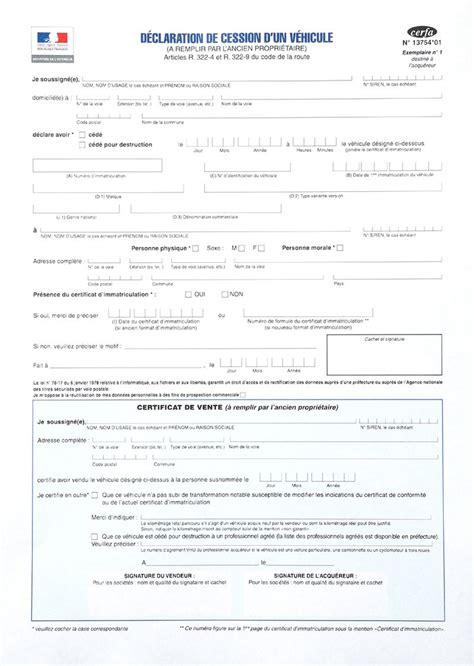document vente voiture occasion certificat de cession dun v 233 hicule doccasion