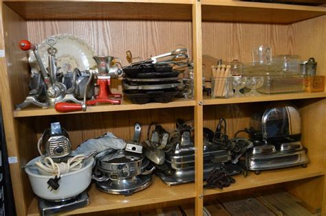 vintage kitchen collectibles two shelves of vintage kitchen collectibles including