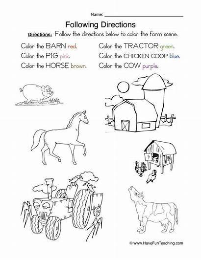 Directions Worksheet Following Coloring Worksheets Direction Follow