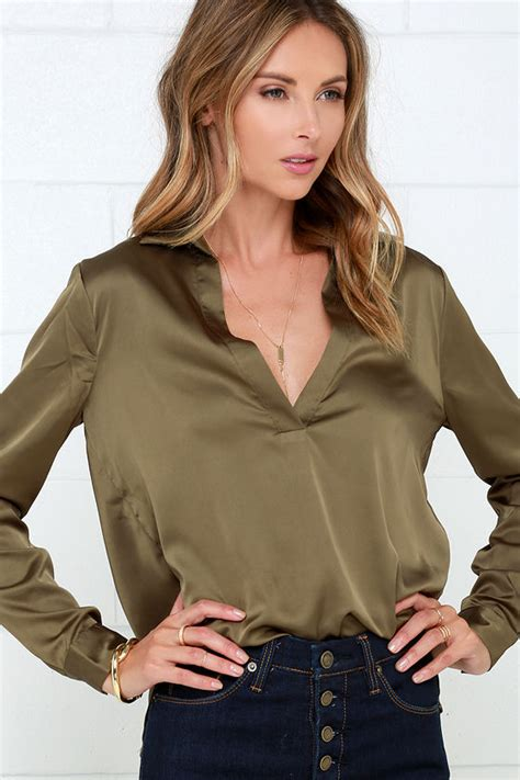 olive green blouse olive green top satin top sleeve blouse 37 00