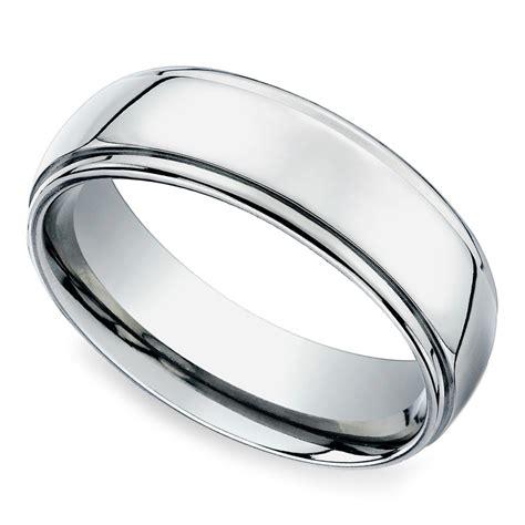 beveled men s wedding ring in platinum 7mm