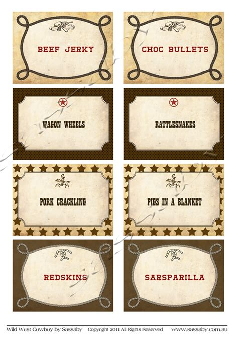 Ideas For Halloween Food Names by Wild West Cowboy Party Labels