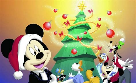 dibujos disney de navidad mickey pluto goofy minnie donald  daisy  el arbol de navidadd