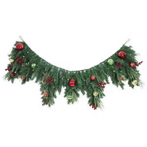 home accents holiday 6 ft led pre lit jolly artificial mantel garland with 50 battery operated