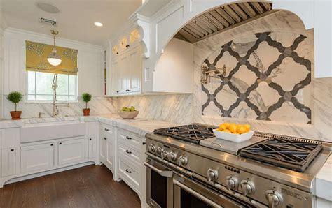 marble quatrefoil tiles transitional kitchen space