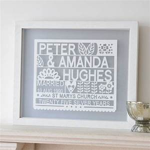 Personalised 25th Silver Wedding Anniversary Gift By Ant