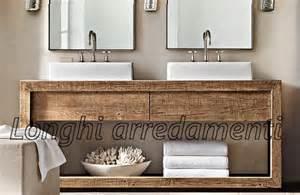 Pin mobile da bagno naturale in legno e travertino