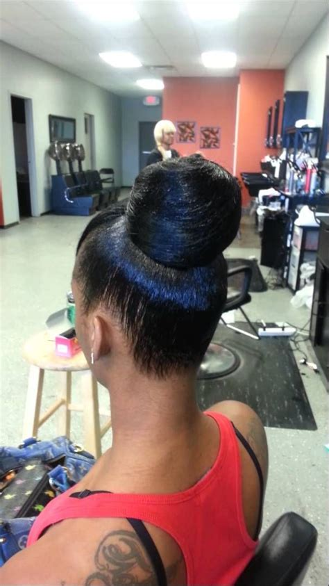 weave bun w quickweave hair it is buns bangs and braided mohawk