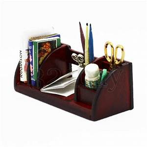 Mini Office Schreibtisch : 1to12 wooden miniature office desk accessories scissors pen pencils pen holder ebay ~ Orissabook.com Haus und Dekorationen
